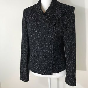 St. John Couture Zip Jacket With Flower Brooch